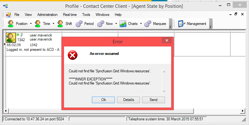 MiCC for Lync: Contact Center Client generates error upon